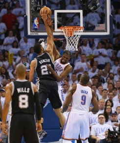 Duncan scored 19 points and grabbed 15 rebounds as well as hit the game-deciding shot that will send the Spurs to their 2nd straight Finals appearance.