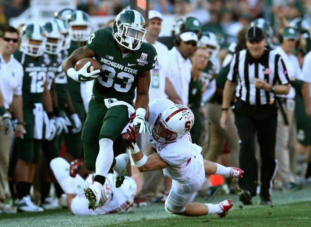 Coming off a stunning Rose Bowl victory, RB Jeremy Langford leads a strong ground game for Sparty who are thinking National title.