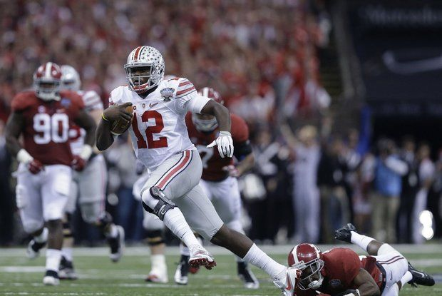 The sample size might be small, but Cardale Jones (12) could end up being the best of the three Ohio State Quarterback's.