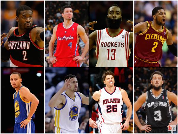 (Top: Wesley Mathews, J.J. Reddick, James Harden, Kyrie Irving. Bottom: Steph Curry, Klay Thompson, Kyle Korver, Marco Belinelli