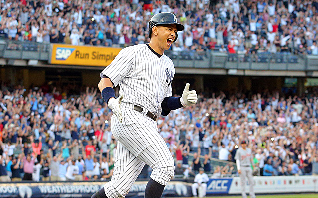 Jun 19, 2015; Bronx, NY, USA; New York Yankees designated hitter Alex Rodriguez (13) rounds the bases after hitting a solo home run against the Detroit Tigers during the first inning at Yankee Stadium. The hit was also the 3000th of his career. Mandatory Credit: Brad Penner-USA TODAY Sports