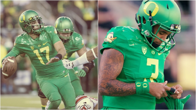 Jeff Lockie (left) nor Vernon Adams (right) have offered any consistency to the once explosive Ducks offense.