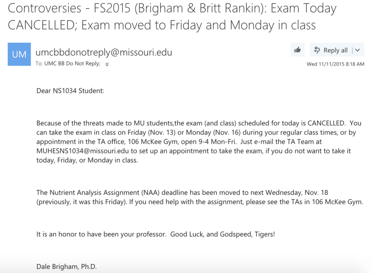 Brigham's last email sent to his current students.