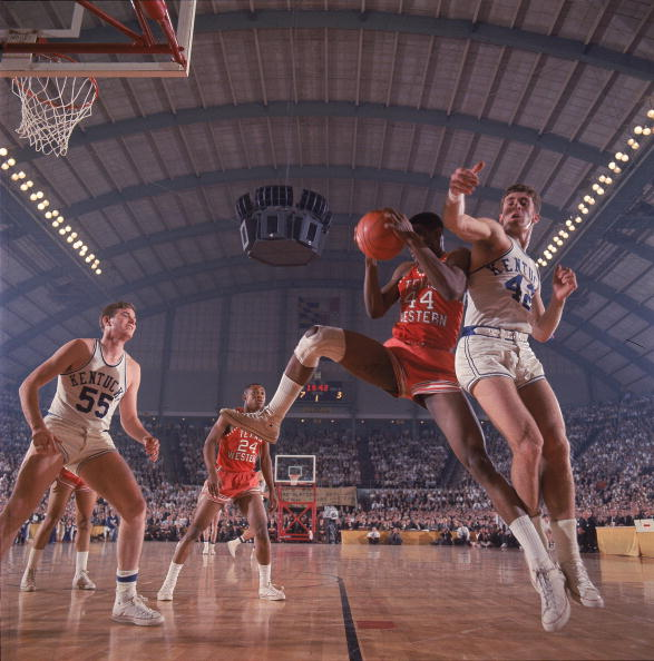 UNITED STATES - MARCH 19: College Basketball: NCAA Final Four, Texas Western (UTEP) Harry Flournoy (44) in action, getting rebound vs Kentucky Pat Riley (42), Cover, College Park, MD 3/19/1966 (Photo by James Drake/Sports Illustrated/Getty Images) (SetNumber: X11505)
